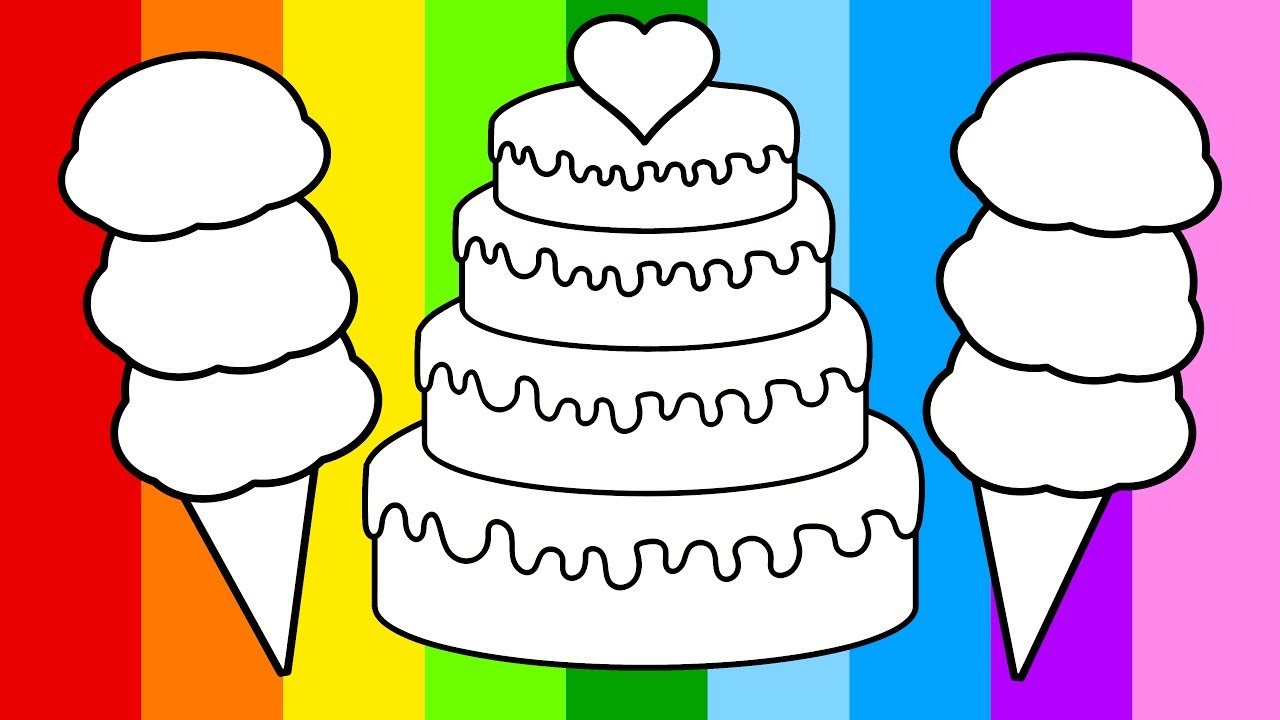 learn to color for kids and color this birthday cake and ice cream