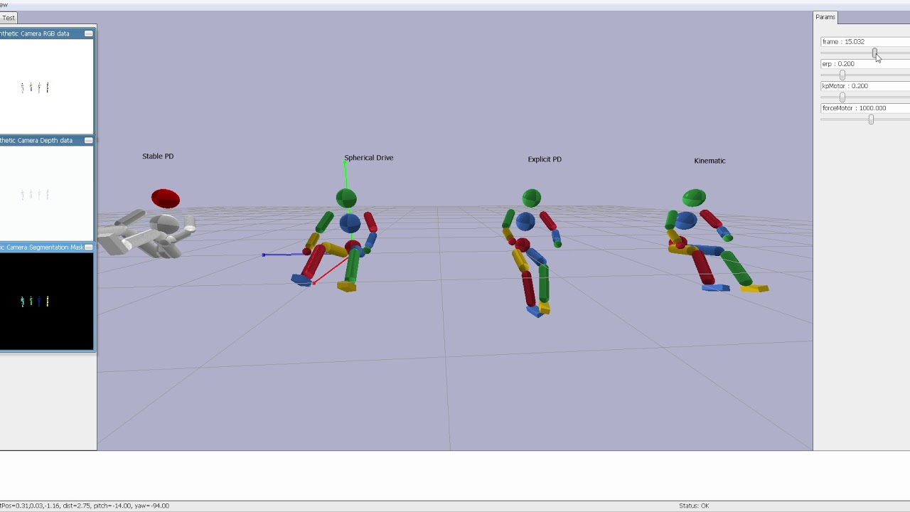 PyBullet Stable PD control and spherical joint drive