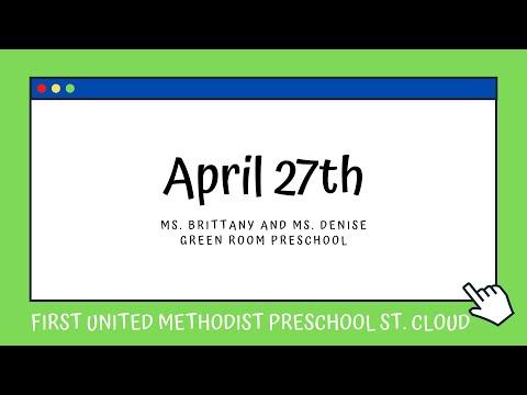 Green Room Preschool   April 27   First United Methodist Preschool St  Cloud
