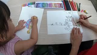 Bé tập tô màu và vẽ Rùa Thỏ _ Bim Bim Channel