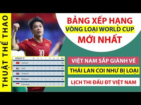 Bảng xếp hạng vòng loại World Cup 2022 mới nhất | Việt Nam sắp giành vé | Thái Lan COI NHƯ bị loại
