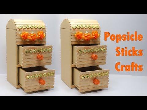 Kreasi Stik Es Krim   Membuat Rak Mini dari Stik Es Krim   Storage box popsicle stick crafts