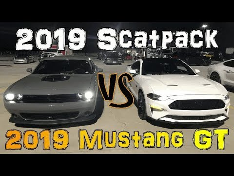 2019 Scatpack Vs 2019 Mustang GT - Who's faster at the track?
