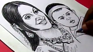 How to Draw Tamil Actor VIJAY WIFE and SON Drawing