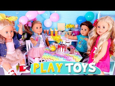 American Girl Doll Slumber Party w/ Kitchen Toys! Pretend Play Baby Dolls baking cupcakes, DYI cake