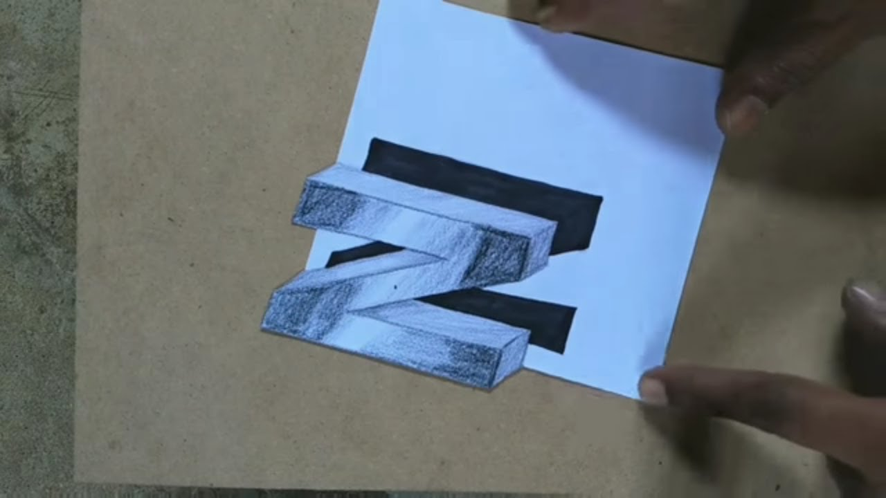 how to draw floating 3d letter n l easy art l trick art youtube how to draw floating 3d letter n l easy art l trick art
