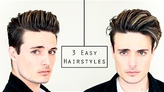 One of BluMaan's most viewed videos: 3 Easy Mens Hairstyles | No Heat Hair Tutorial - Healthy Hair 2016