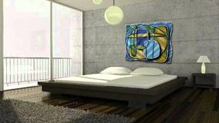Contemporary Curves W Blue, Green & Gold Metal Wall Decor Panel.wmv