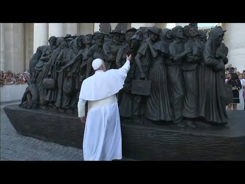 Pope Francis unveils sculpture commemorating migrants and refugees in St Peter's Square