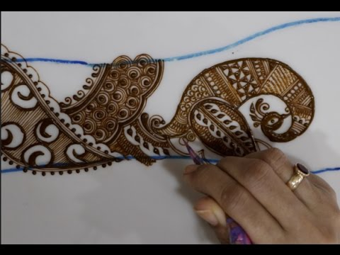 Mehndi Henna Design With Peacock Motif : Tutorial how to use peacock drawing in intricate mehendi
