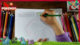 Pokemon drawings cartoons for children | How to draw Mega Diancie | pokemon xyz roblox art for kids