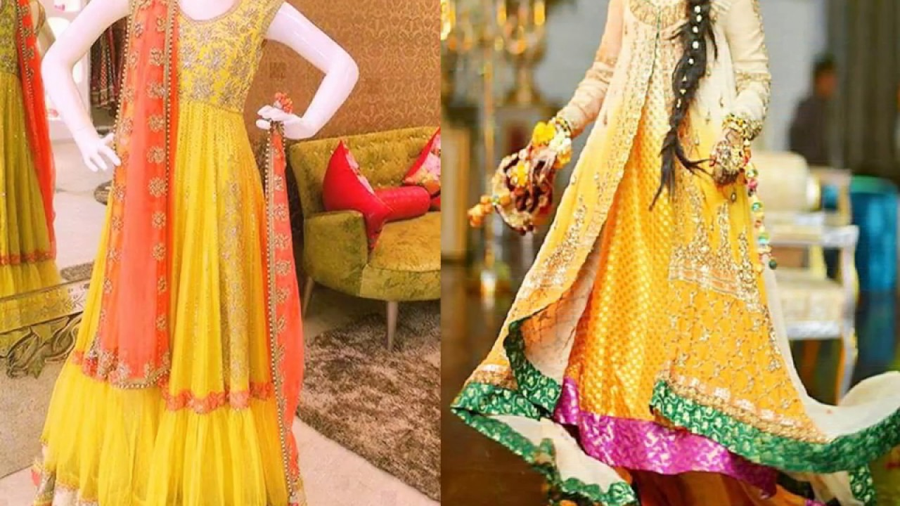 Mehndi Function Dresses : Latest bridal mehndi dresses designs collection
