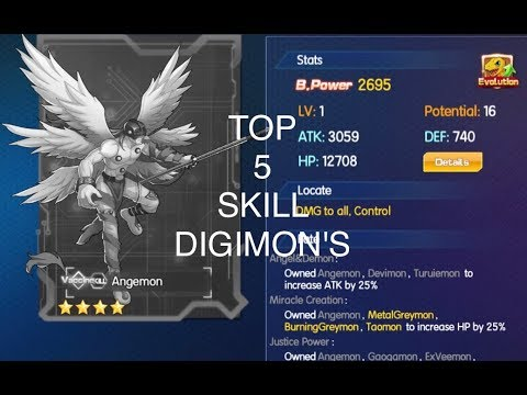 TOP 5 SKILL TYPE DIGIMON IN DIGITAL MASTER - Digimon: Digital World Adventure