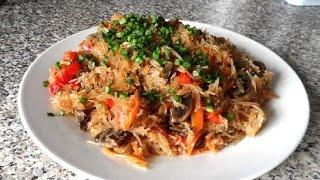 Лапша Чапче - фунчоза(китайская лапша) с овощами и грибами