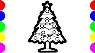 How To Draw a Realistic Christmas Tree Drawing Pictures Clipart Images  For Kids !
