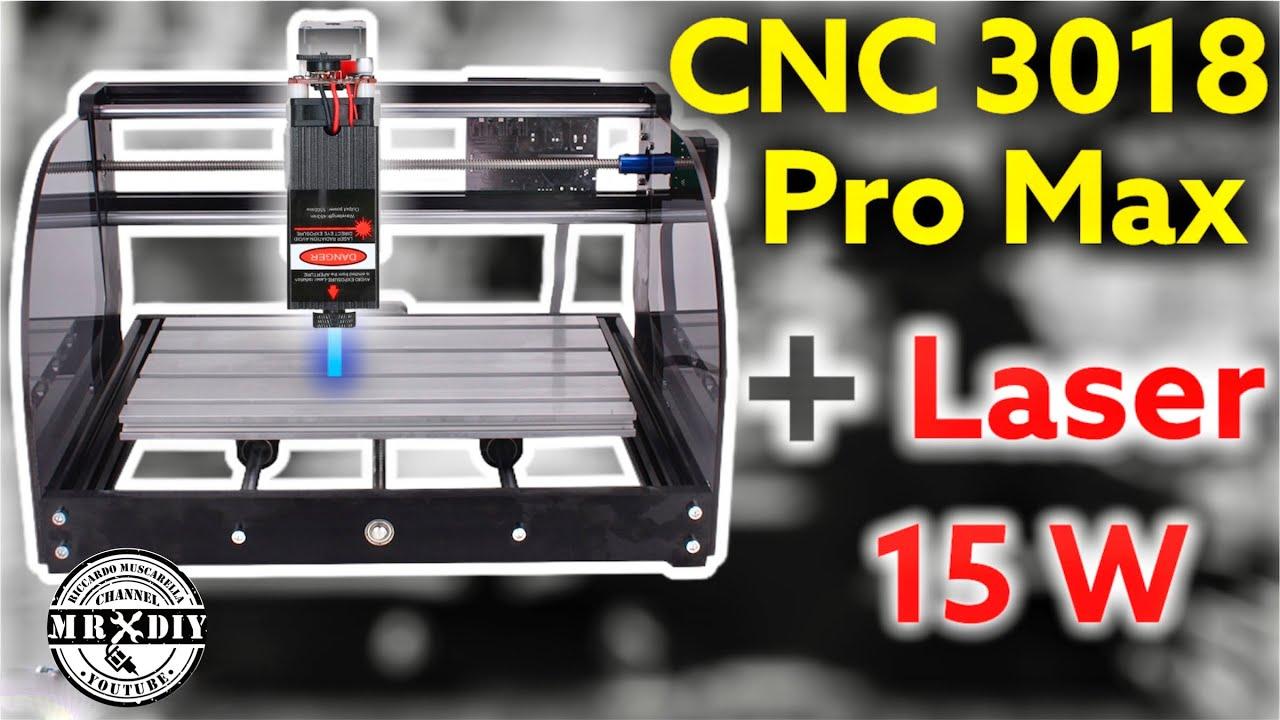 Download 😱 CNC 3018 PRO MAX. Incluso laser da 15W e router. Taglio laser facile. GRBL.