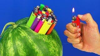 10 SMART IDEAS!  Watermelon vs Lighters