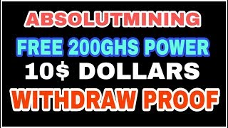 ABSOLUTMINING FREE BITCOIN CLOUD MINING FREE 200GHS EARN TAMIL