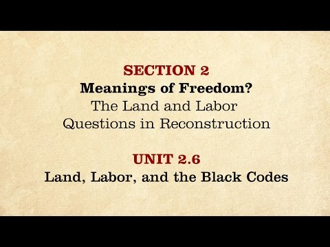 MOOC | Land, Labor, and the Black Codes | The Civil War and Reconstruction, 1865-1890 | 3.2.6