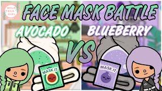 FACE MASK BATTLE  AVOCADO  VS BLUEBERRY  TOCA BOCA
