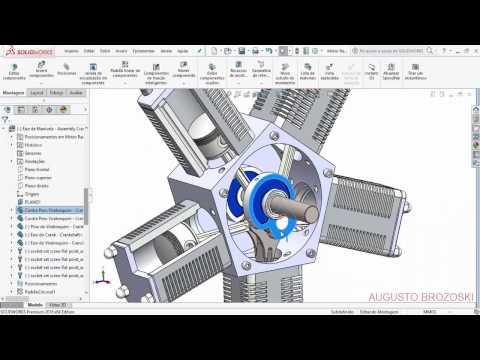 Solidworks Radial Engine Motor Radial   Crankshaft 04 de 05   Parte 1