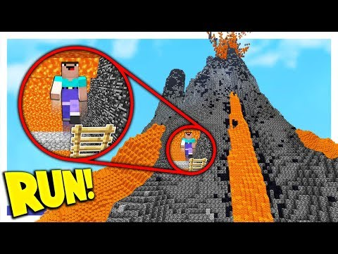 RUNNING FROM LAVA INSIDE A MINECRAFT VOLCANO (Minecraft Volc
