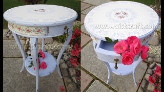 Vintage Flower Table  Chalk Paint  and Decoupage Furniture