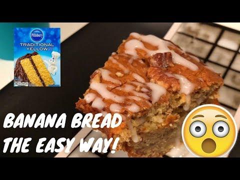 BANANA BREAD RECIPE USING BOX CAKE MIX!