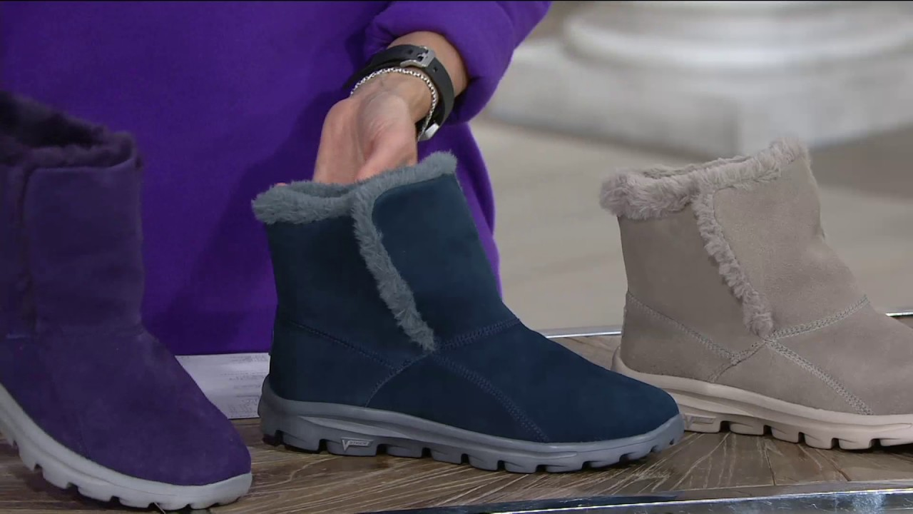 50-70% de descuento belleza varios colores Skechers GOWalk Suede Faux Fur Boots w/ Goga Mat - Dazzling on QVC ...