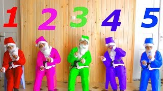Five little Santa Claus sitting on the chair - Educational videos for kids