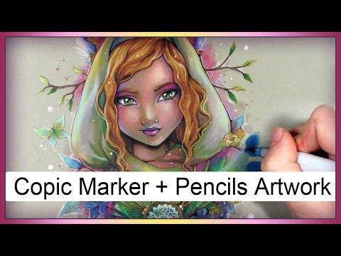Illustration ♦ Kitsune Fox girl Art ♦ Copic Marker pencils on Strathmore paper by Sakuems