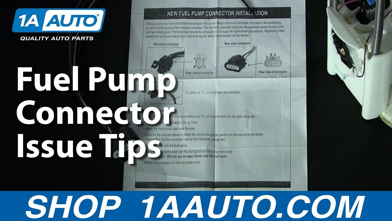 Fuel Pump Connector Issue Tips 1AAuto.com - YouTube  S Fuel Pump Wiring Diagram on 1998 gmc jimmy fuse box diagram, s10 brake light switch diagram, 91 s10 fuel pump diagram, s10 lighting wiring diagram, s10 window motor wiring diagram, s10 encoder motor wiring diagram, 1991 ranger wiring diagram, 1999 chevrolet silverado wiring diagram, 97 blazer radio wire diagram, 99 chevy blazer fuse diagram, s10 air bag wiring diagram, s10 trailer wiring diagram, 98 chevy blazer fuel line diagram, s10 fuel pressure regulator symptoms, 1995 s10 wiring diagram, s10 engine wiring diagram, 2002 gmc sonoma radio wiring diagram, s10 steering column switch diagram, 2000 chevy blazer fuel line diagram, 1971 vw super beetle wiring diagram,