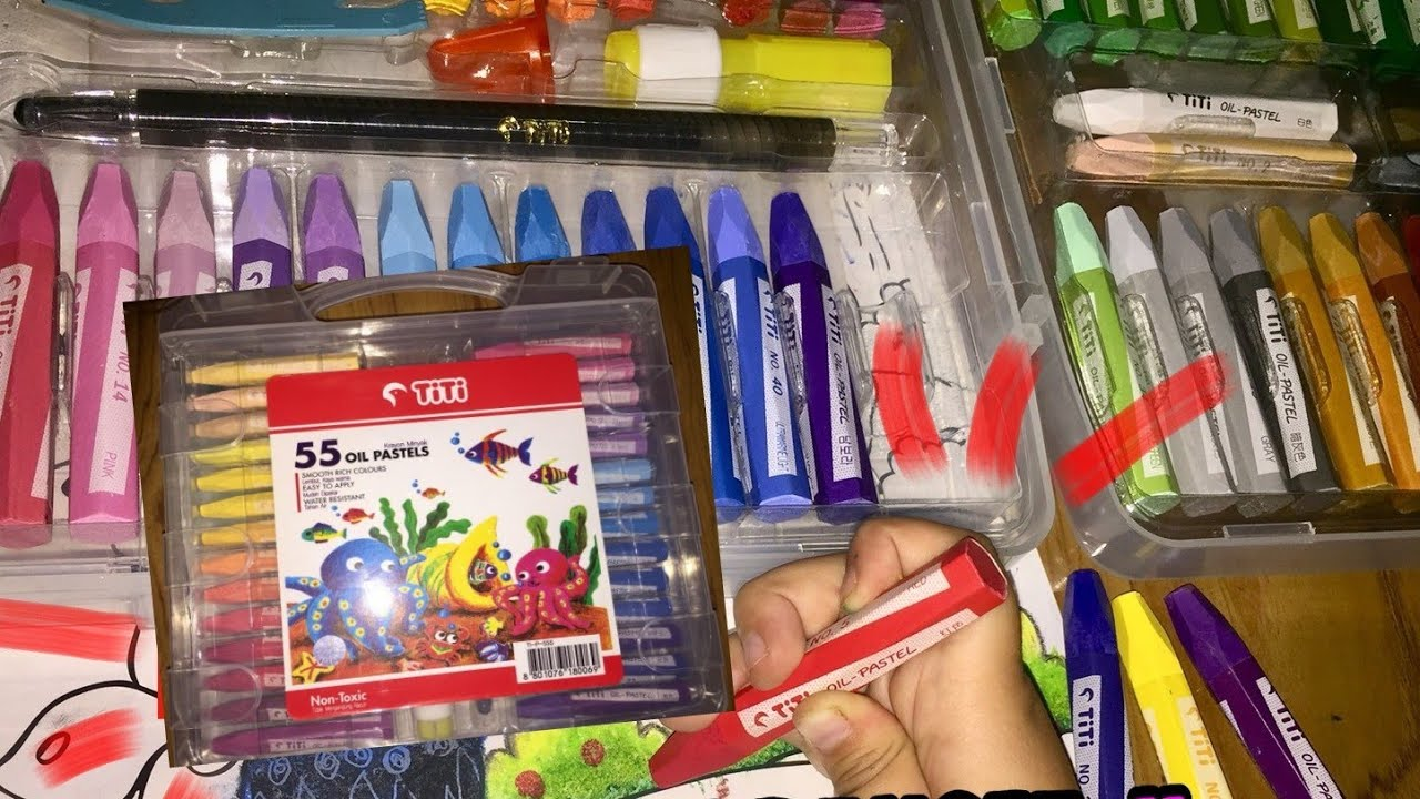 Unboxing Crayon Oil Pastels Titi 55 Warna Youtube