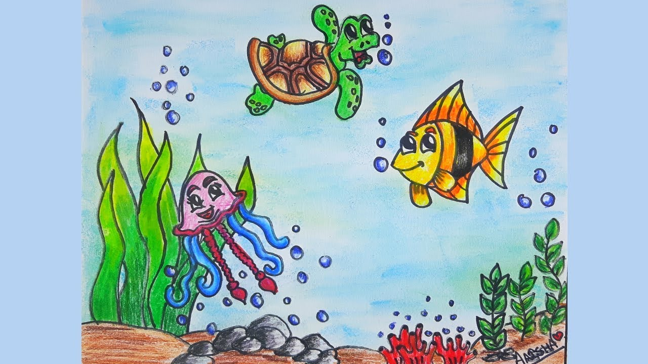 How To Draw And Color Underwater Sea Scenery | Aaisha's ...