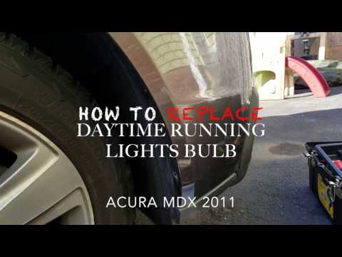 HOW TO REPLACE/INSTALL DRL DAYTIME RUNNING LIGHT BULB ACURA MDX 2011 REMOVE FRONT BUMPER