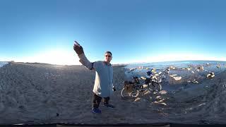 Пляж возле Urbanova, Alicante. Видео 360° 4K, можно с собаками и на машине.