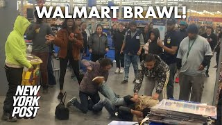 Walmart fight breaks out in this body-slamming, phone-stomping brawl | New York Post