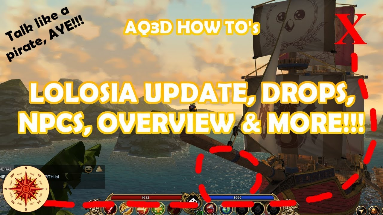 AQ3D HOW TO'S   LOLOSIA PT1 LOLOSIA UPDATES, DROPS, NPCS, OVERVIEW AND  MORE!!!