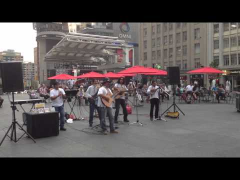 Street concert of traditional Latin music in Dundas square, Toronto