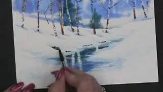 Painting Watercolor Winter Landscape Cards