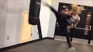 Practicing jumping spin kicks Taekwondo