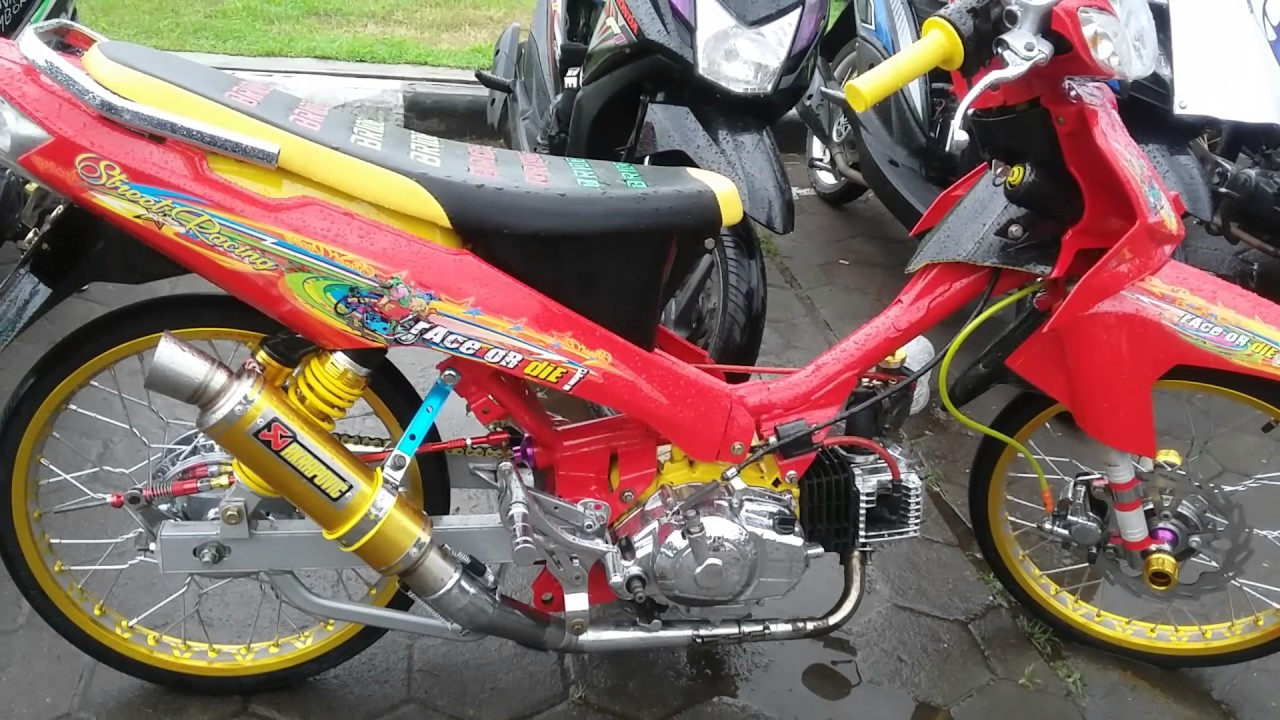 modifikasi yamaha vega r street racing warna merah - youtube