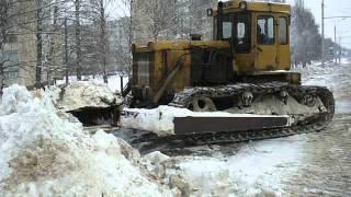 """T-170B dozer tractor pushin"""" snow. TURBO!"""