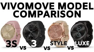 Garmin Vivomove Model Comparison and Feature Explanation - Vivomove 3S, 3, Style, Luxe Review