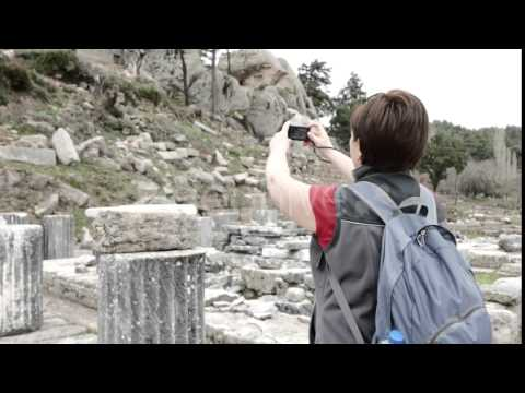 Tourist Photographing Ruins of Ancient Temple. 4k