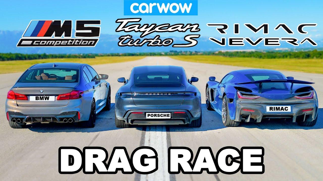 Download Rimac Nevera vs Porsche Taycan vs BMW M5: DRAG RACE
