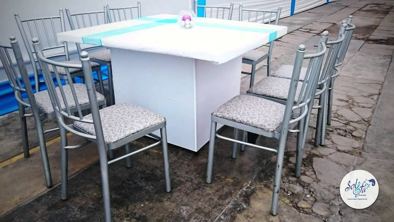 Toldo decorado sillas de metal mesas cuadradas for Mesas de cocina cuadradas