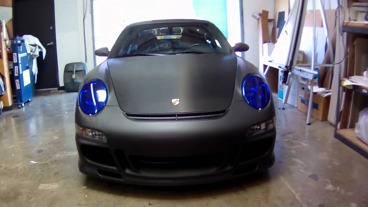 Matte Black Carbon Fiber Porsche Carrera Gts Vehicle Wrap By