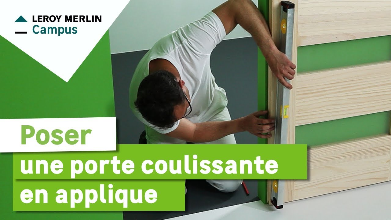 Comment poser une porte coulissante en applique ? Leroy Merlin - YouTube