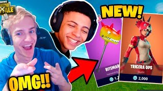 OMG NINJA REACTS TO THE NEW TRICERA OPS SKIN FORTNITE BATTLE ROYAL!!